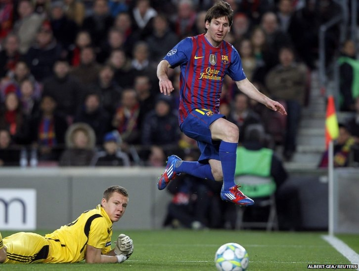 Lionel #Messi became the first player to score five goals in a Champions League #football fixture as #Barcelona beat Bayer Leverkusen 7-1 to cruise into the last eight of the competition.