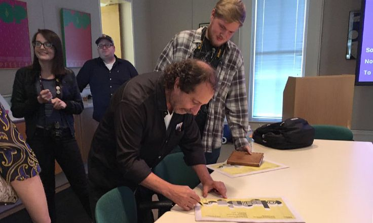 Celebrated artist/designer Rick Valicenti meets with Ivy Tech Columbus students at The Columbus Visitors Center, September 2016 | photo by Exhibit Columbus