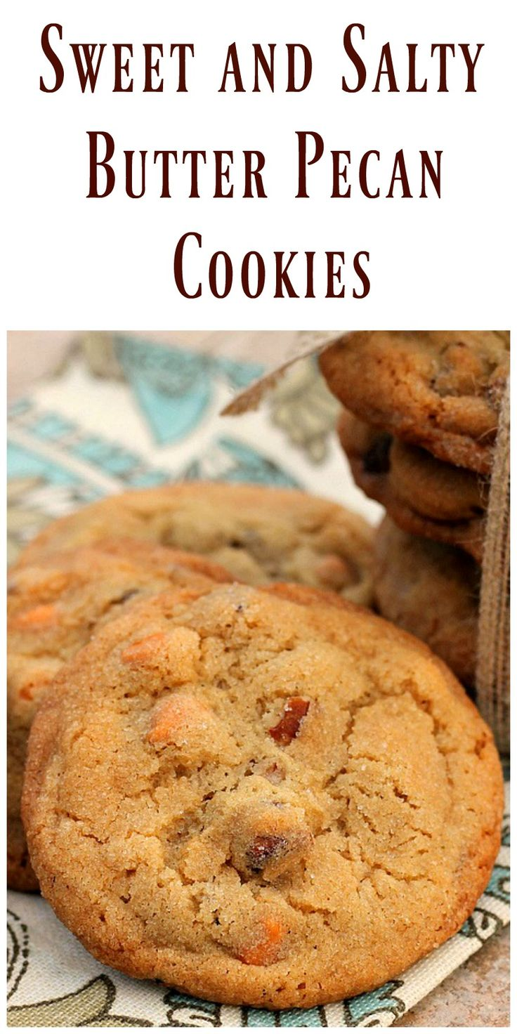 Sweet and Salty Butter Pecan Cookies are rolled in sugar with a slight touch of salt to make them the perfect sweet and salty treat. They are delicious! via @https://www.pinterest.com/BunnysWarmOven/bunnys-warm-oven/