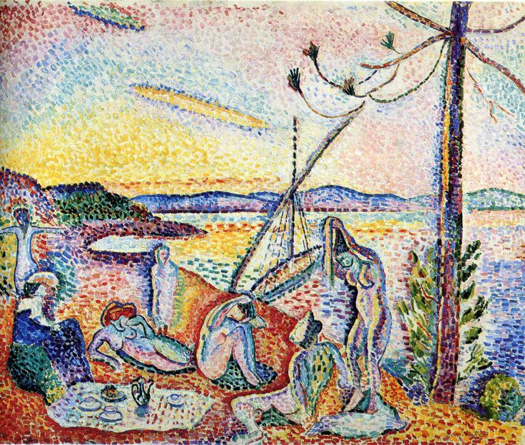 Matisse's Luxe, Calme et Volupté, 1904.  This was painted while the artist stayed with the pointillist painter, Signac, at his home in Saint-Tropez on the Côte d'Azur. Matisse's title comes from Charles Baudelaire's poem, L'invitation au voyage (Invitation To A Voyage) from his collection, The Flowers of Evil. Luxe, calme et volupté translates just as it sounds in English, Luxury, calm, and voluptuous(ness)