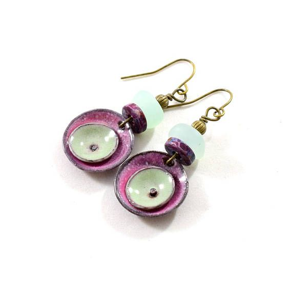 Raspberry Enameled Double Poppy Circle Earrings Artisan