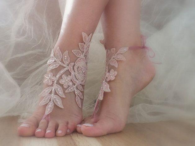rose perles mariage de plage sandales aux pieds nus,accessoires de mariée pied : Autres accessoires par weddingstore-mariage