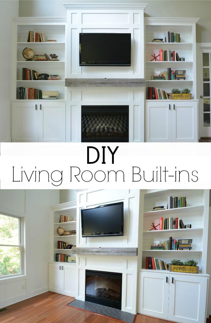 living room built in cabinets diy living room fireplaces and cabinets. Black Bedroom Furniture Sets. Home Design Ideas