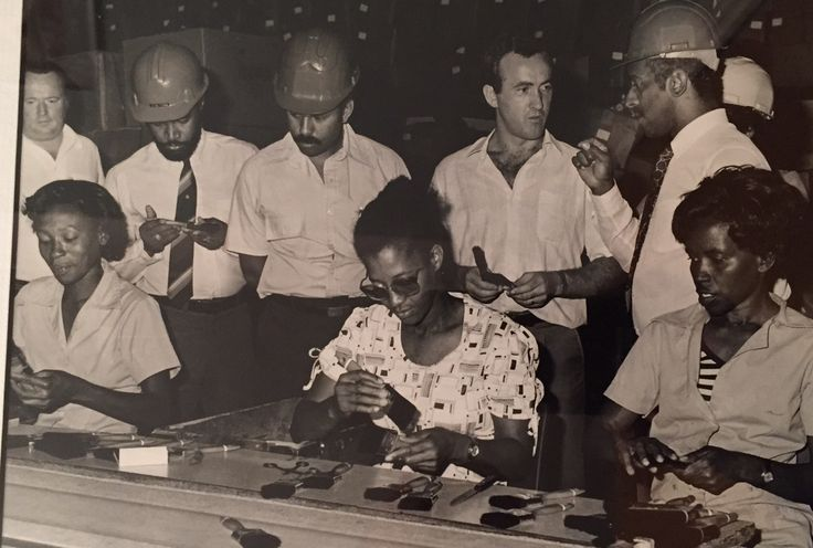 In 1972 Fleetwood opened a brush manufacturing factory in Jamaica to supply the entire Caribbean? Employing 130 people in it's heyday it was sold in 1990 but is still in business today. Pictured is factory manager Tom O'Connell with workers and government officials on a visit in 1985.