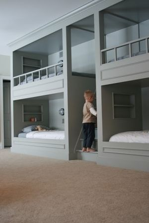 Like the rails on the tops... would add pull-out storage under bottom bunks