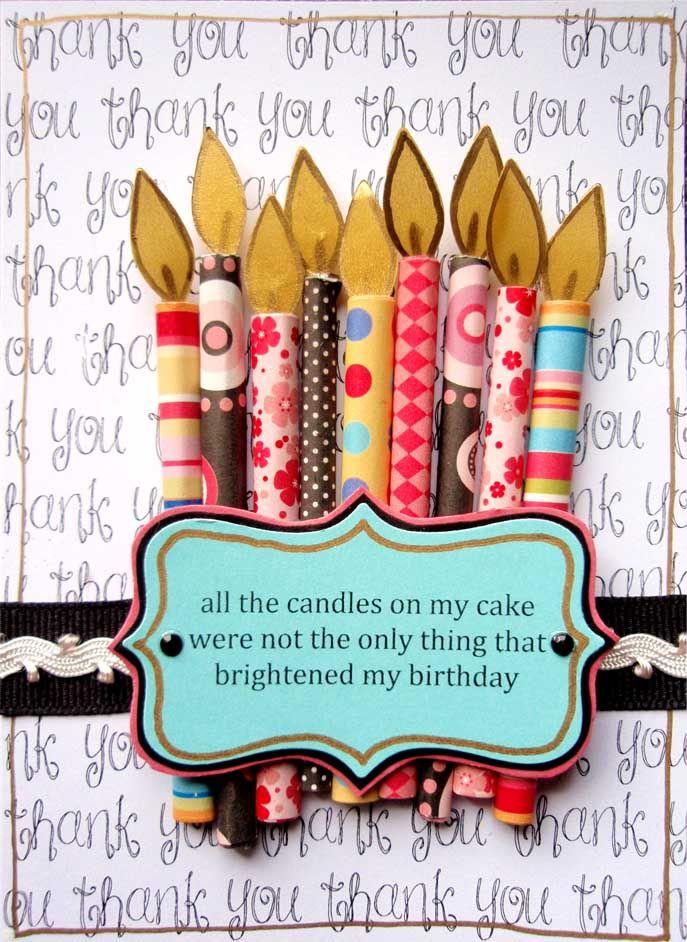 Candle Birthday Thank You Card.Birthday Thank You, Birthday Scrapbook Ideas, Cards Ideas, Birthday Candles, Candles Birthday, Scrapbook Paper, Happy Birthday Cards, Paper Candles, Candles Cards