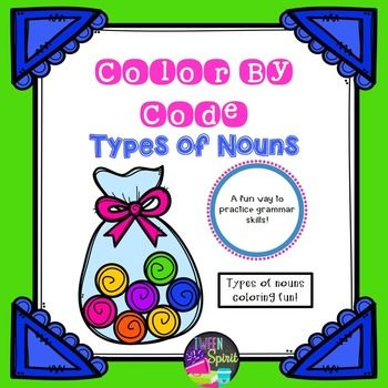 Nouns, Nouns, Nouns! Everything children need to review nouns is right here in this FUN coloring activity! Singular Common Nouns Plural Common Nouns (Regular and Irregular) Possessive Nouns Collective Nouns Proper NounsStudents will identify types of nouns in sentences and then color-by-number to create a picture.This is a great activity to keep kids engaged in studying before a test or as a formative assessment since kids enjoy coloring!