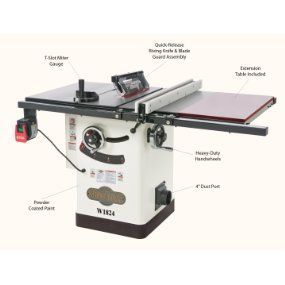 Shop Fox W1824 Hybrid Table Saw with Extension Table - Power Table Saws -