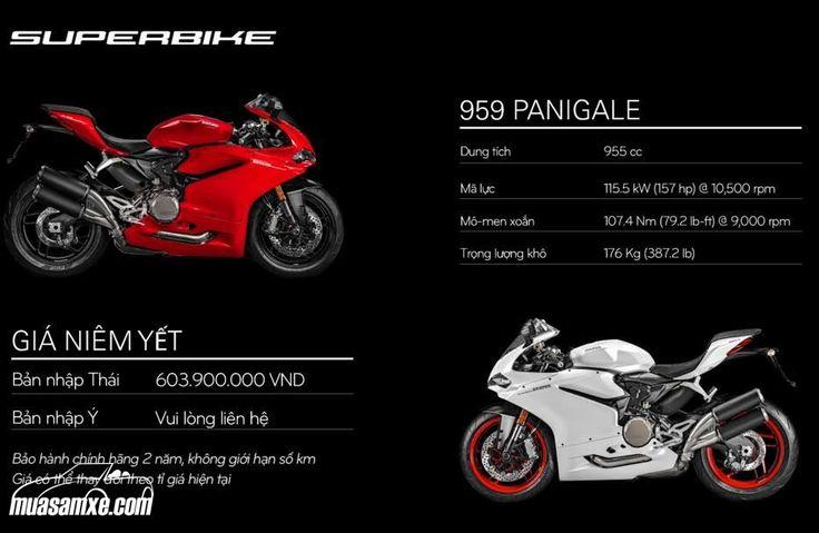 Đánh giá xe Ducati 959 Panigale 2017 kèm hình ảnh và giá bán chính thức tại Việt Nam:  Ducati 959 Panigale là mẫu xe thể thao dung tích 955 cc, công suất 157 mã lực và 107 Nm mô-men xoắn. Xe có thiết kế đẹp và khả năng vận hành ưu việt hơn thế hệ trước. Ducati 959 Panigale phiên bản 2016 là môtô thể thao hạng trung thay thế cho mẫu 899 Panigale. Mặc dù vậy, lần nâng cấp động cơ này khiến 959 Panigale gần đạt tiêu chuẩn trên siêu môtô 1.000 phân khối. Những thay đổi chính trên 959 Panigale…