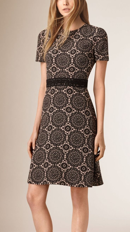 Burberry Lace Print Silk Shift Dress