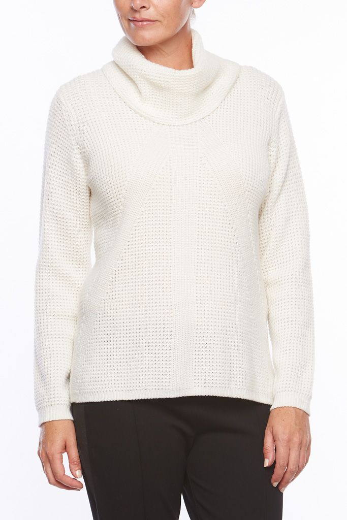 ROLL NECK WAFFLE JUMPER This Liz Jordan jumper will take you through the cooler seasons with ease & stylish comfort. Luxurious & easy-to-wear, this style features a waffle self-design, a cosy roll neck & a subtle hi-low hem.