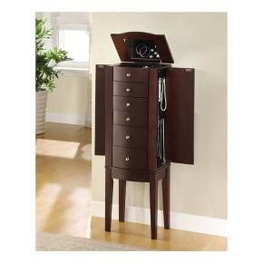 "The freestanding ""Merlot"" finished Jewelry Armoire is accented with sleek round drawer pulls and thin straight legs. Sized for economy and function, this jewelry armoire is the perfect piece to store all of your beloved treasures. Top opens up, side doors open wide and deep drawers pull out to provide ample storage. Inside features plush black lining. Some assembly required."