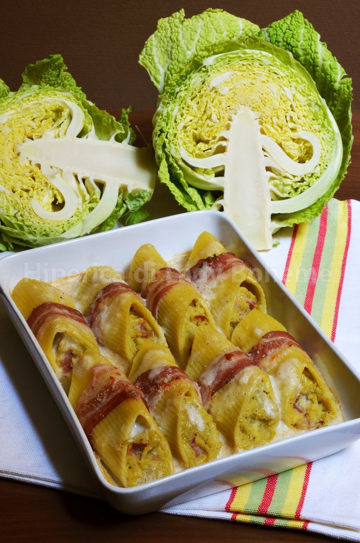 "Pennoni ripieni al forno con pancetta, Leerdammer e verza. (Baked Stuffed Pasta ""Penne giganti"" with Savoy Cabbage, Leerdammer, Bacon and Bechamel)"