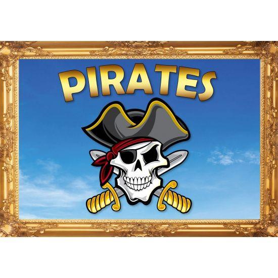 Piraten poster, Pirates. Formaat A2 - 59 x 42 cm. Leuke piraten thema poster voor op een piratenfeestje of kinderkamer.