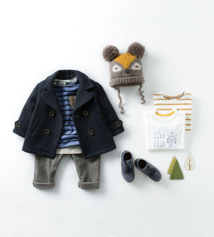 Zara Baby Boys Blue Coat with Gray Pants