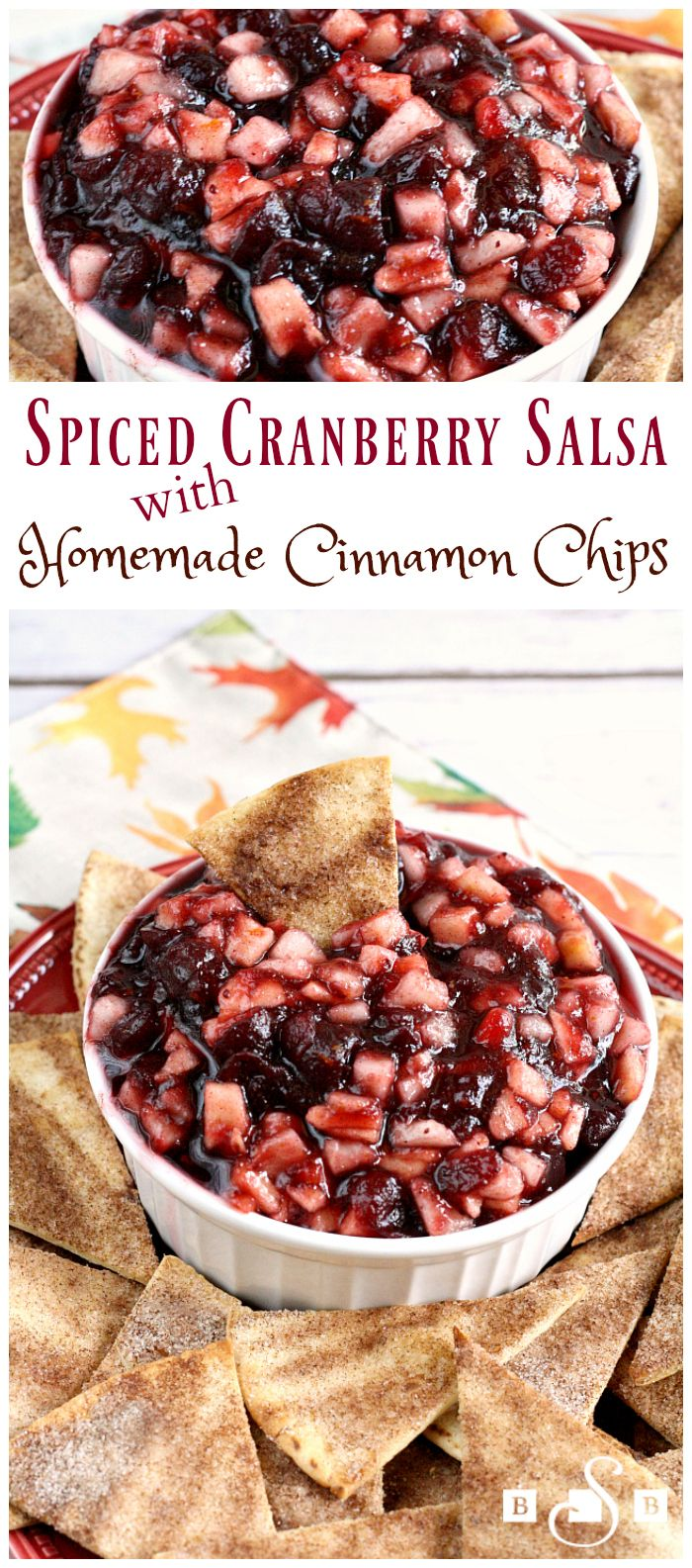 Spiced Cranberry Salsa with Homemade Cinnamon Chips - a delicious & festive fall appetizer! Butter With a Side of Bread #InspiredGathering AD