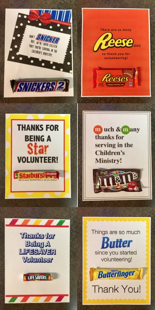 7 FREE Children's Ministry Candy Bar Volunteer Appreciation Notes