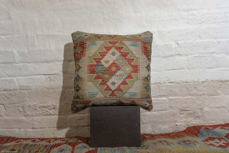 Hand Made Mazar Kilim Cushion from Afghanistan. Length: 50.0cm by Width: 50.0cm. Only £49 at https://www.olneyrugs.co.uk/shop/kilim-cushions-for-sale/afghan-mazar-22283.html    See our distinguished range of Indian rugs, carpets, kilim ottomans and Kilim cushions at www.olneyrugs.co.uk