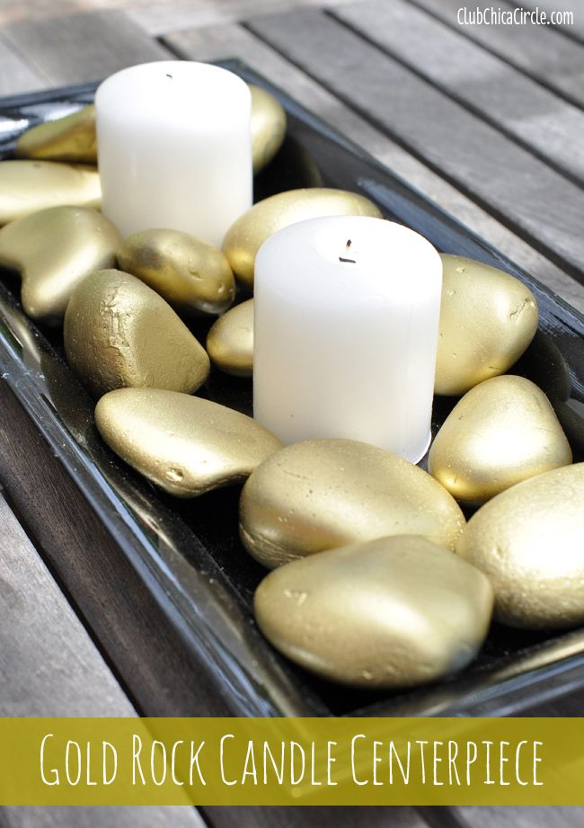 Gold Rock Candle Centerpiece | Club Chica Circle - where crafty is contagious http://club.chicacircle.com/gold-rock-candle-centerpiece/