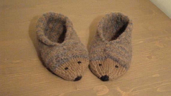 Hedgehog Slippers Knitting Pattern : Hedgehog slippers socks shoes Shoes, Hedgehogs and Knitting