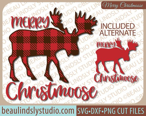 Plaid Moose SVG, Fun Christmas SVG File, Christmas Clipart, Christmas Graphics, Holiday SVG File For Silhouette Pattern, Christmoose SVG File For Cricut, DXF File, PNG Image File. This is a fun Christmas design that's a play on words, that'll make everyone smile! The design is great for so many different projects, like Cabin Christmas Decor, Vinyl Window Clings, Vinyl Wall Art, HTV or Fabric Die Cut Appliqué for a DIY Shirt, Sweatshirt or Hoodie and more! By: www.beaulindslystudio.com