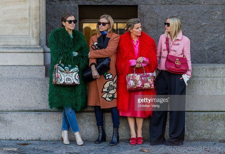 Darja Barannik, Tine Andrea, Janka Polliani, Celine Aargaard outside By Malene Birger during the Copenhagen Fashion Week Autumn/Winter 2016 on February 4, 2016 in Copenhagen, Denmark.