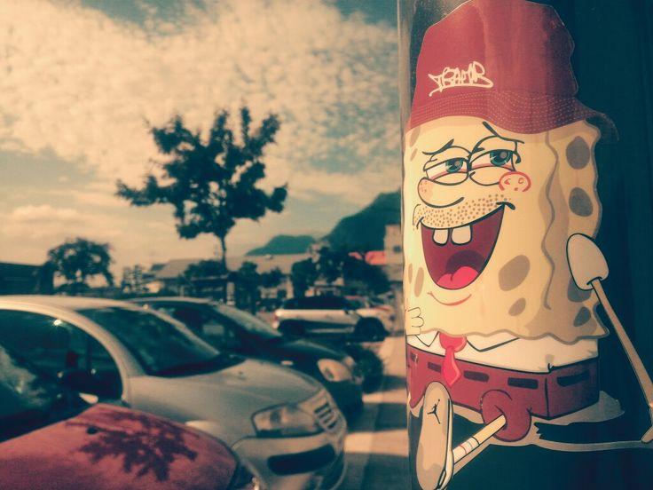 Sponge Beer - street art - sticker by Tramb - Grenoble
