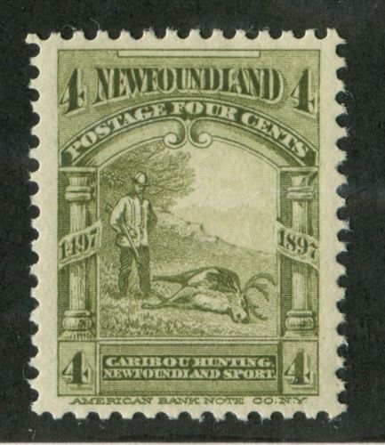Newfoundland-64-4c-Olive-Green-Caribou-Hunting-1897-John-Cabot-Issue-VF-84-LH