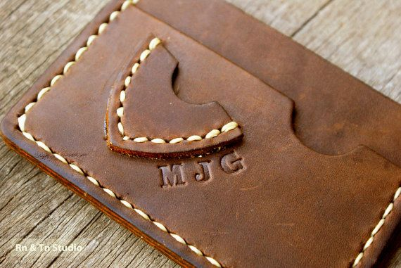 Men's Wallet / Slim  Thin Leather wallet pick guitar case by rntn, $38.00
