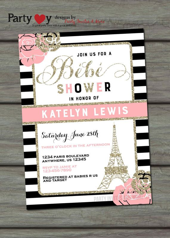 Paris Baby Shower Invitation, French Baby Shower Invitation, Paris  Invitation, Eiffel Tower Baby Shower Invitation, Ooh La La, French Shower