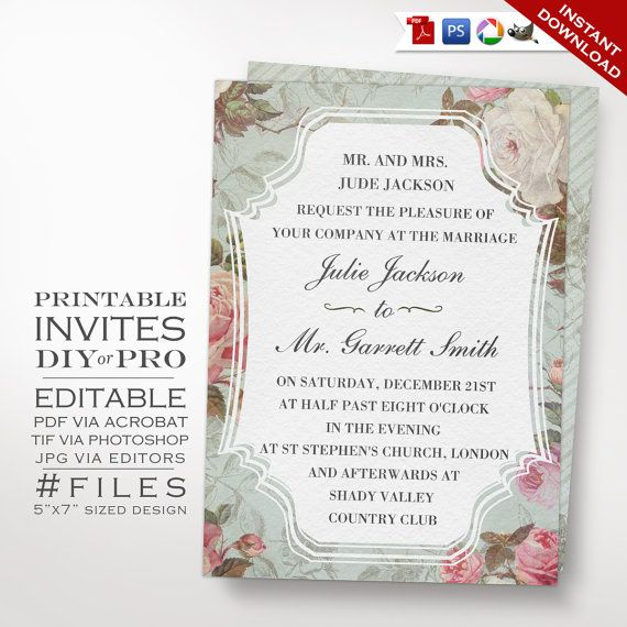 Wedding Invitation Template Vintage Rose Printable Diy French Country Editable Invite