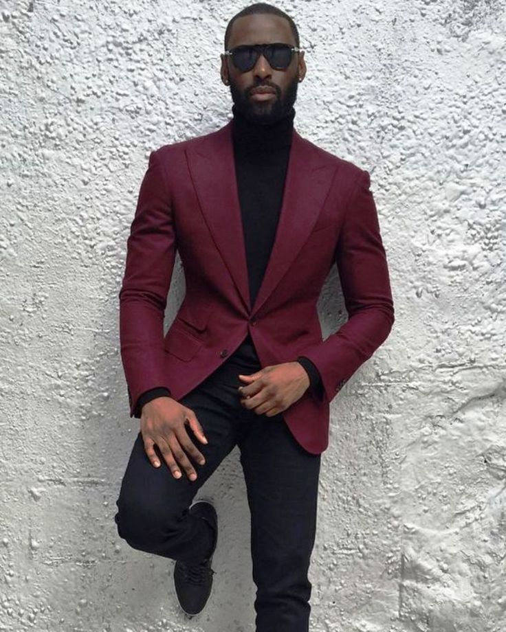 black mens fashion wid red blazer