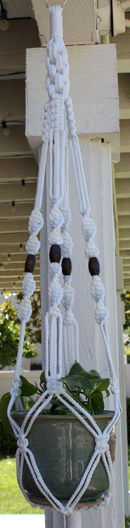 Macrame Plant Hanger Holder - CROWNE ROYALE - 6mm Braided Poly Cord - White