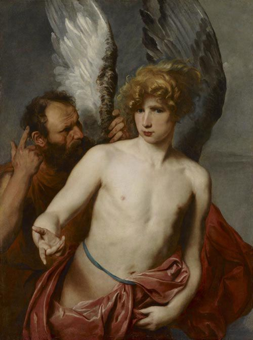 """Anthony Van Dyck, Daedalus and Icarus, c.1620. I love that Icarus is so obviously full of his youthful self and ignoring his dad's admonitions: """"Whatever, dad."""" Seen at the Art Gallery of Ontario (AGO), Toronto, in June 2012. I blogged about my AGO visit at http://satsumabug.com/2012/06/20/toronto-ago-art-gallery-of-ontario/"""