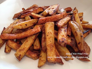 Baked Not Fried Fries with Sweet Potatoes: Sweet Potatoes Fries, Bakednot Fries, Yummy Food, Fries French, Baking Sweet Potatoes, Baking Fries, Baking French Fries, Yummy Side, Recipes With French Fries