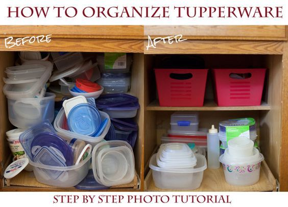 These 5 easy steps have kept my tupperware cupboard organized, even when my husband does the dishes. Only $2 organization makeover! - EatingRichly.com