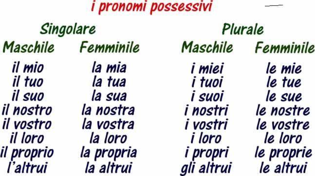 Pronomi possessivi