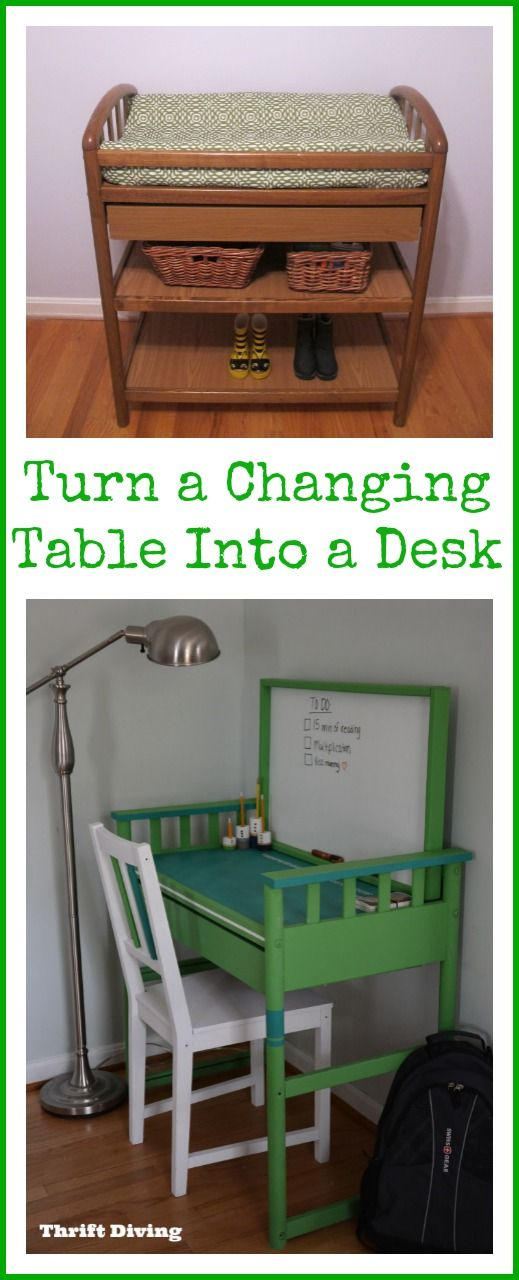 Turn a Changing Table Into a Desk - Thrift Diving Blog : Thrift Diving Blog