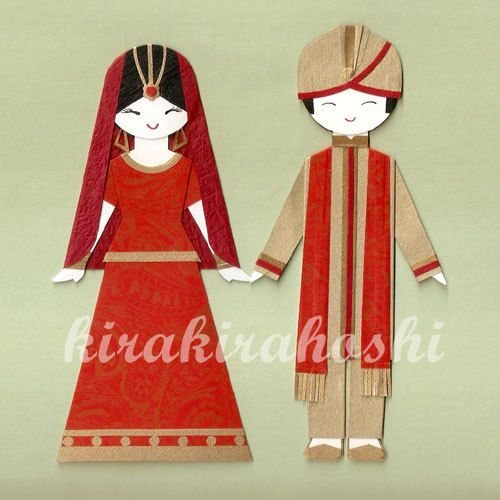 INDIAN PAKISTAN Couple Wedding Bride and Groom Paper Doll Card Topper (Set of 2)