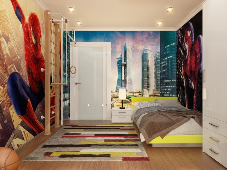 20 Cool Boys Bedroom Designs To Inspire You : Stylish Spiderman Themed Down  Lit Boys Bedroom With White Cupboard And Wooden Floor