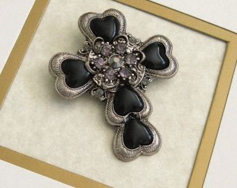 Kruis broche, zwarte kruis broche, religieuze Gift, religieuze sieraden…