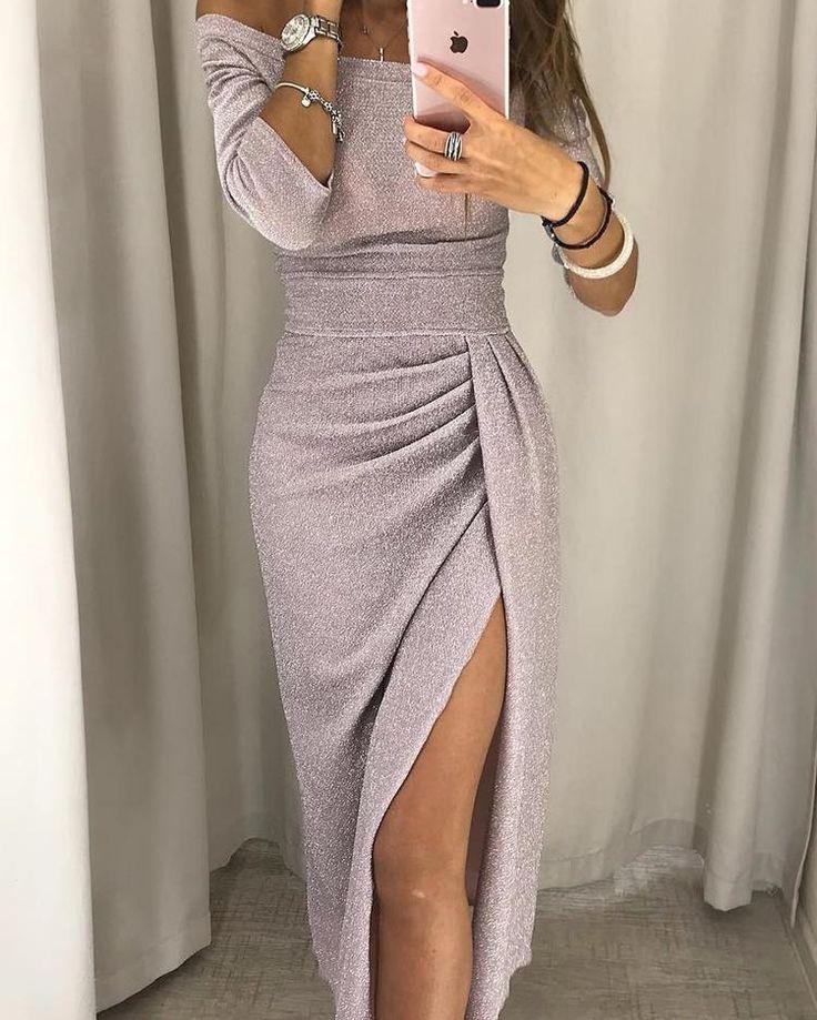 Preço: $ 28,99 | Vestido de festa com fenda ruched na coxa e glitter | Vestidos de festa   – Party Dresses