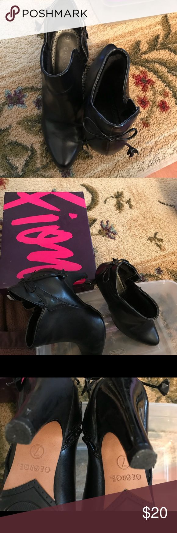 """Black boots Ladies black zipper ankle boots by George size 7 medium 2"""" heels George Shoes Ankle Boots & Booties"""