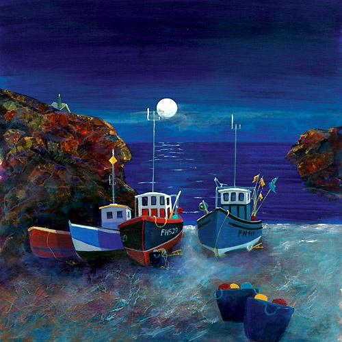 Cadgwith Cove Moonlight, Gilly Johns