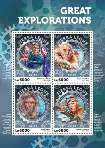 SRL16402a Great Explorations (Sir Edmund Hillary (1918-2008) Everest 8.848 metres; Roald Amundsen (1872-1928) the first to reach the South Pole; Robert Peary (1856-1920) first to reach North Poles; Charles Lindbergh (1902-1974) Monoplane Spirit of St. Louis, New York – Paris 33hrs 30min. NON STOP)