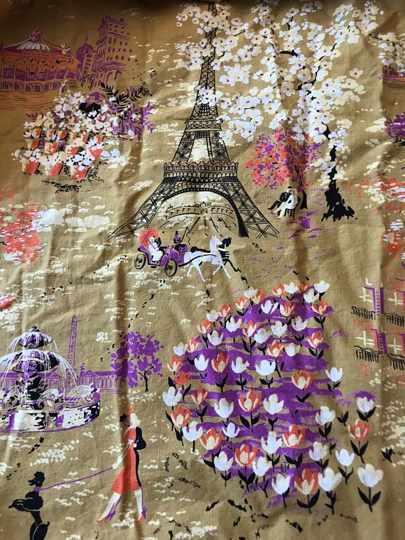 Vintage 50s Skirt 50s Circle Skirt Paris Eiffel Tower