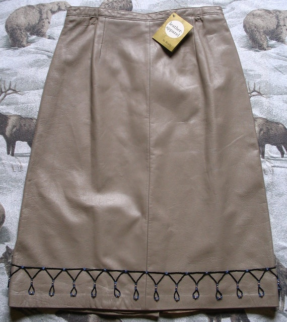 Upcycled Vintage Tan Leather Skirt by Scully by TrailsEndBeadwork, $49.99