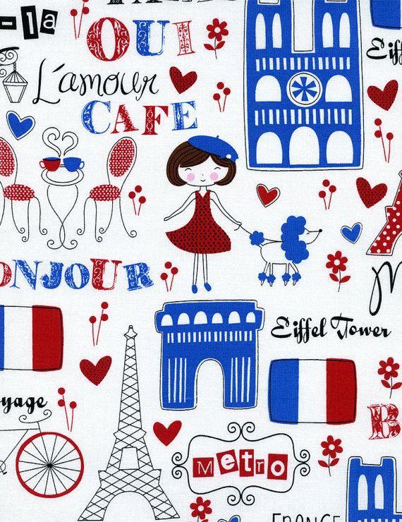 Timeless Treasures Paris in White   1 Yard by Jillianleighfabrics
