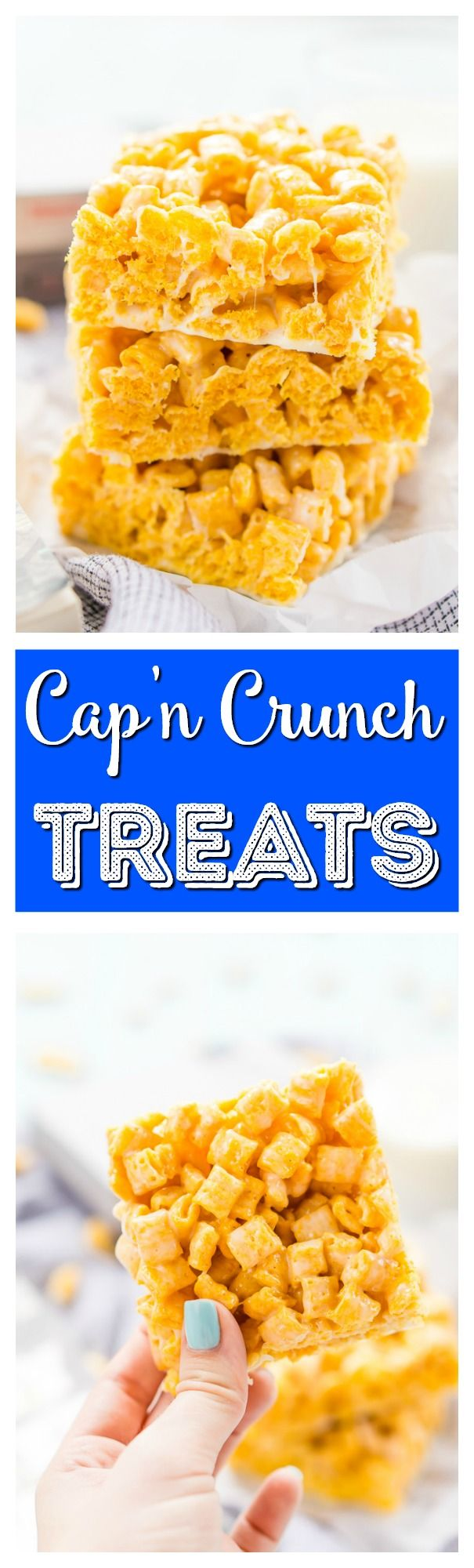 These Cap'n Crunch Treats are a fun twist on classic rice krispies treats and inspired by the book Ready Player One by Ernest Cline. They're the perfect fast dessert or afternoon snack and Cap'n Crunch lovers will go crazy over them! via @sugarandsoulco