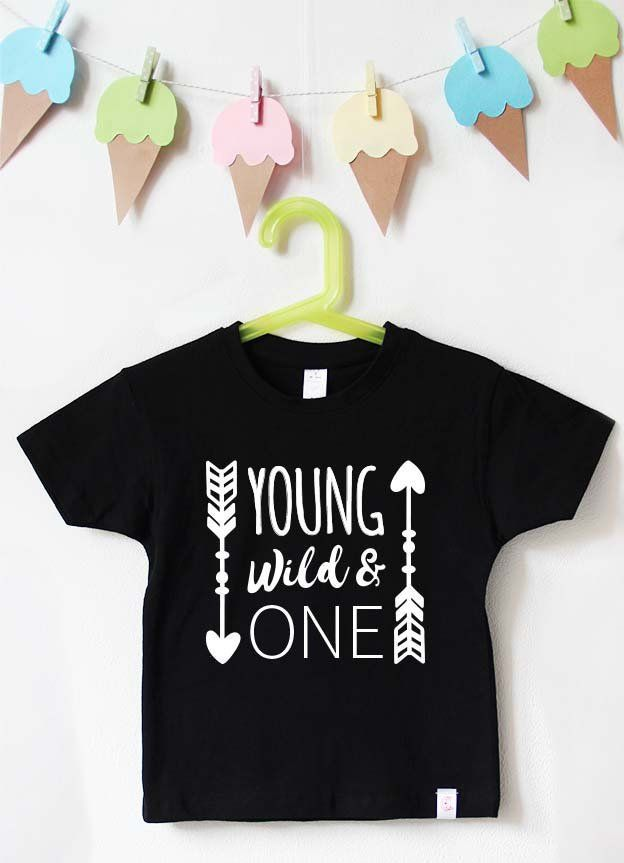 Birthday Shirt Kid Young Wild One Black Birthday Shirt Boys
